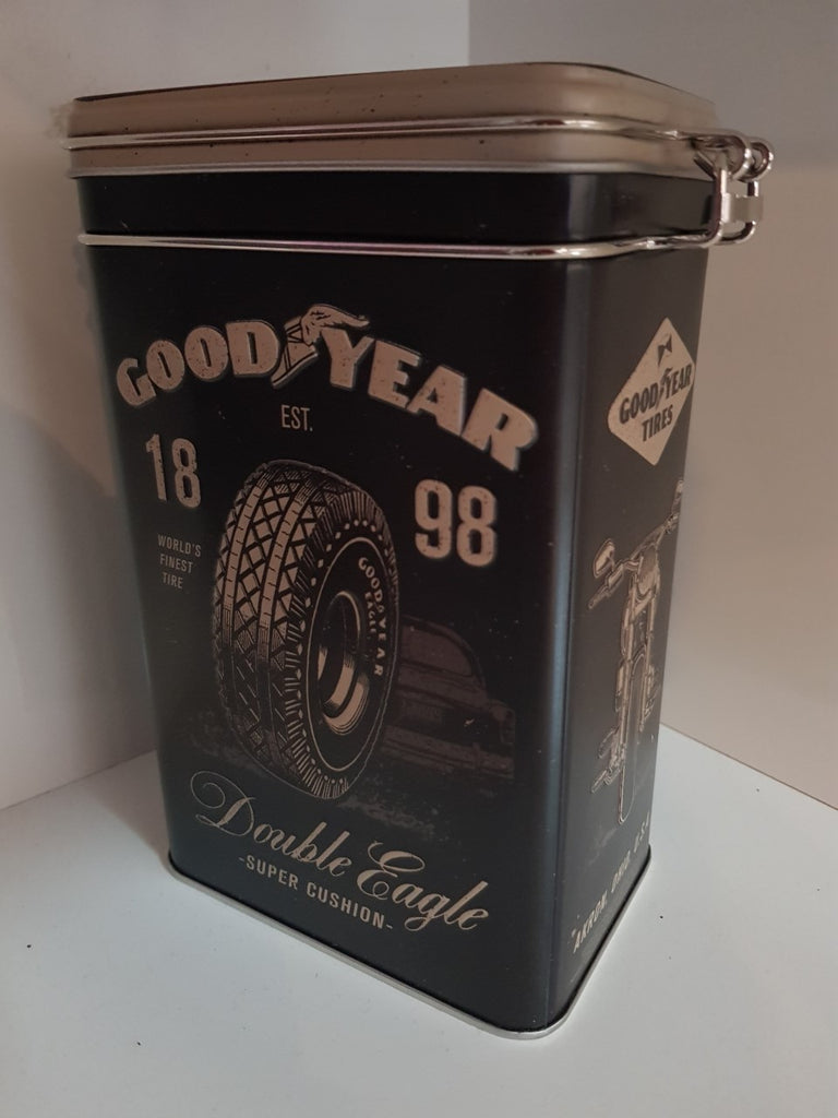 "Tin Container Clip Top - Good Year  ""Double Eagle"""