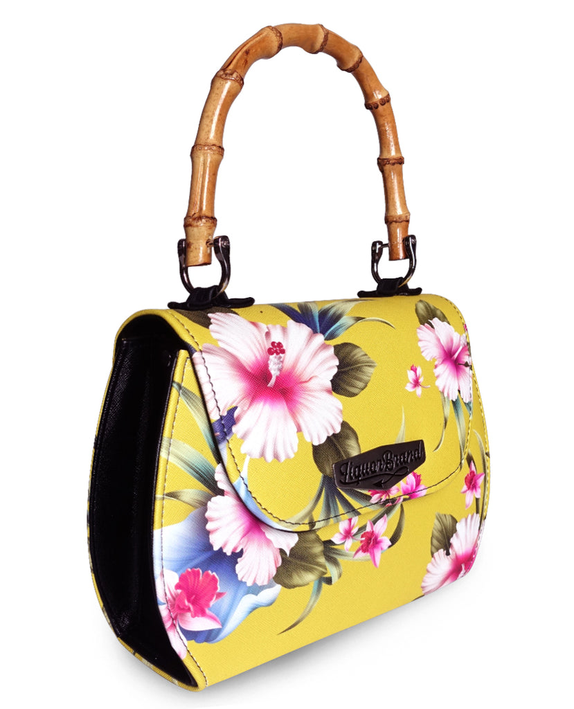 Liquorbrand - Luau Yellow Bamboo handle bag