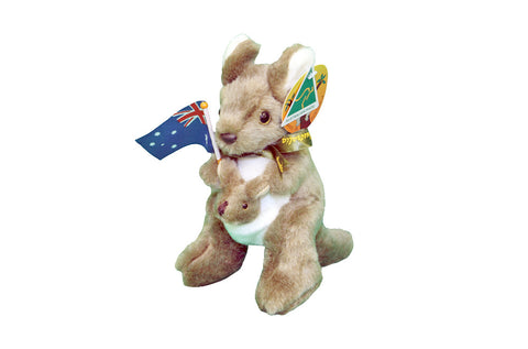 "Australian Souvenirs - Plush Kangaroo 8"" With Flag Australian Made"