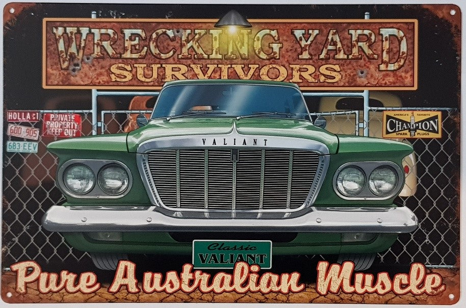 Tin Sign -  S Series Valiant  Wrecking Yard Survivor