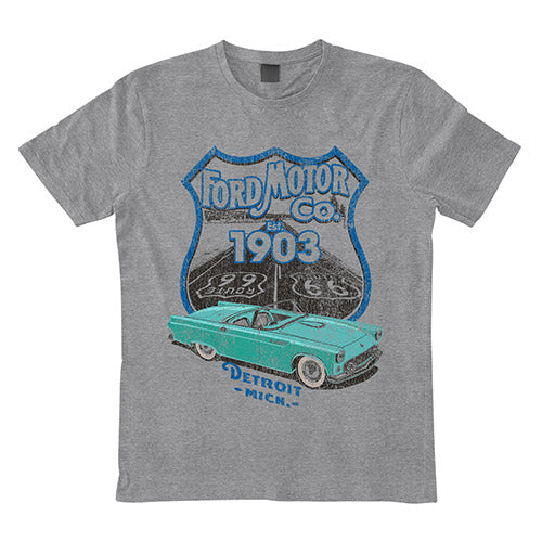 Mens  T Shirt - Ford Est 1903 Route 66 Grey