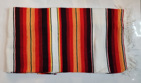 Mexican Blanket Red/Orange & White in colour