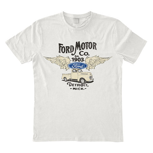 Mens  T Shirt - Ford Est 1903 Wings White