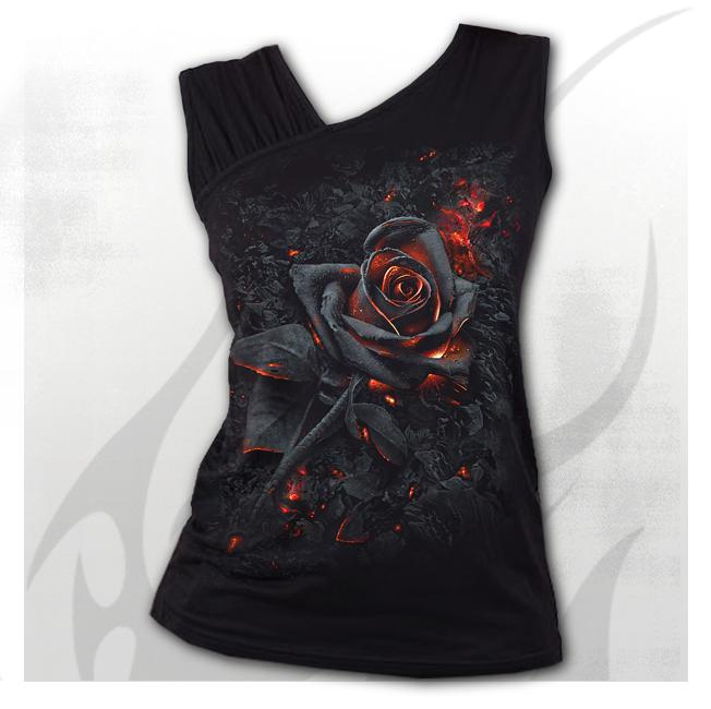Spiral - BURNT ROSE - Gathered Shoulder Slant Vest Black