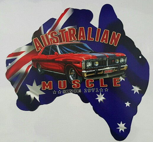 Tin Sign Aussie Map - Austrailian Muscle Since 1971 XY GT HO