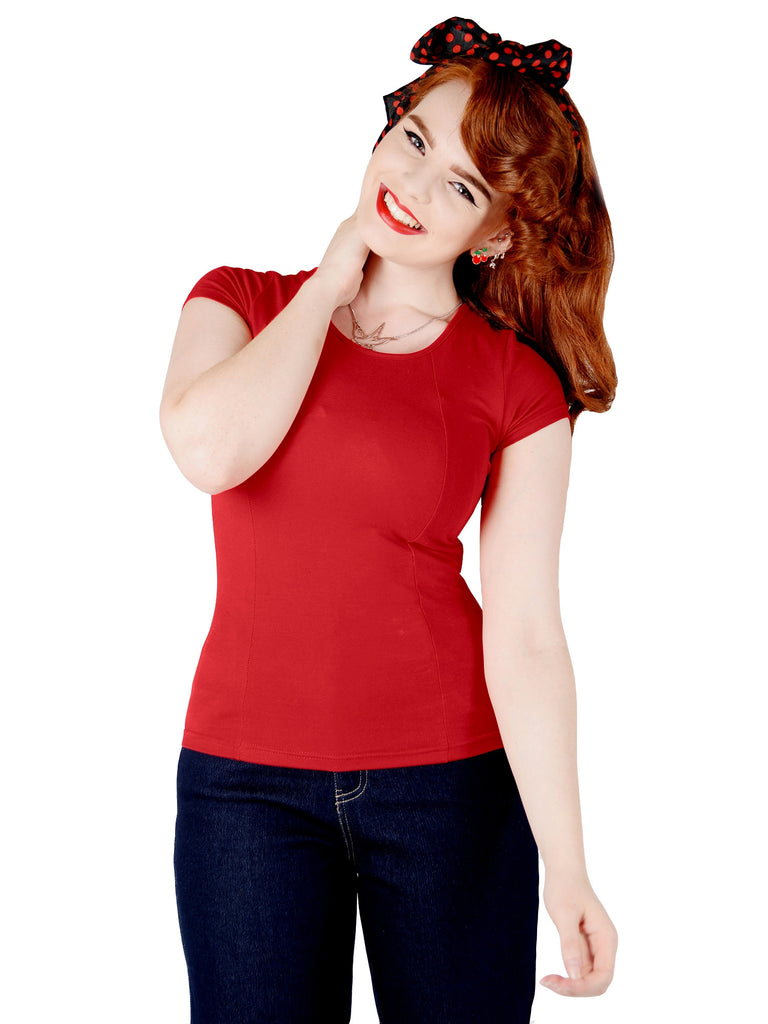 Collectif Alice Plain T-Shirt Red