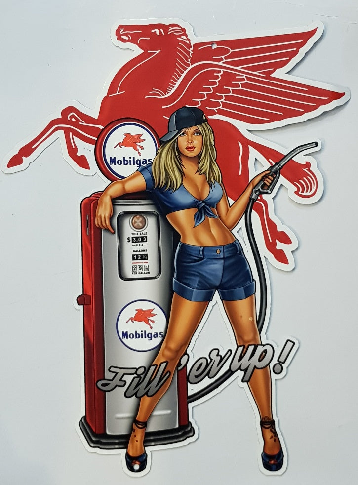 Tin Sign -  Mobilgas Pin Up