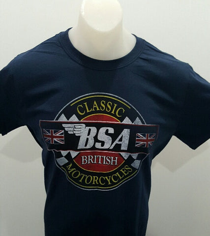 BSA Motorcycle Men's T-shirt Classic Motorcycles Navy