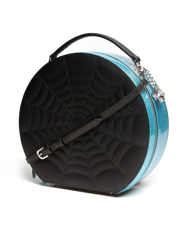 Lux De Ville Black Widow Hatbox Villain Blue Sparkle Bag|Poisonkandyklothing
