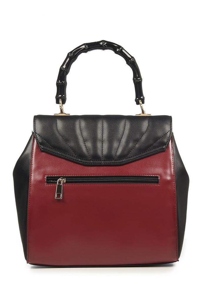 Banned Clothing - Bamboo Lux Handbag Burgandy/Blk|Poisonkandyklothing