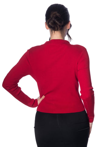 Banned Clothing - Rochelle Rib Cardigan Red