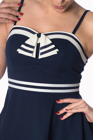 Banned Set Sail Strappy Navy Dress Plus Size|Poisonkandyklothing