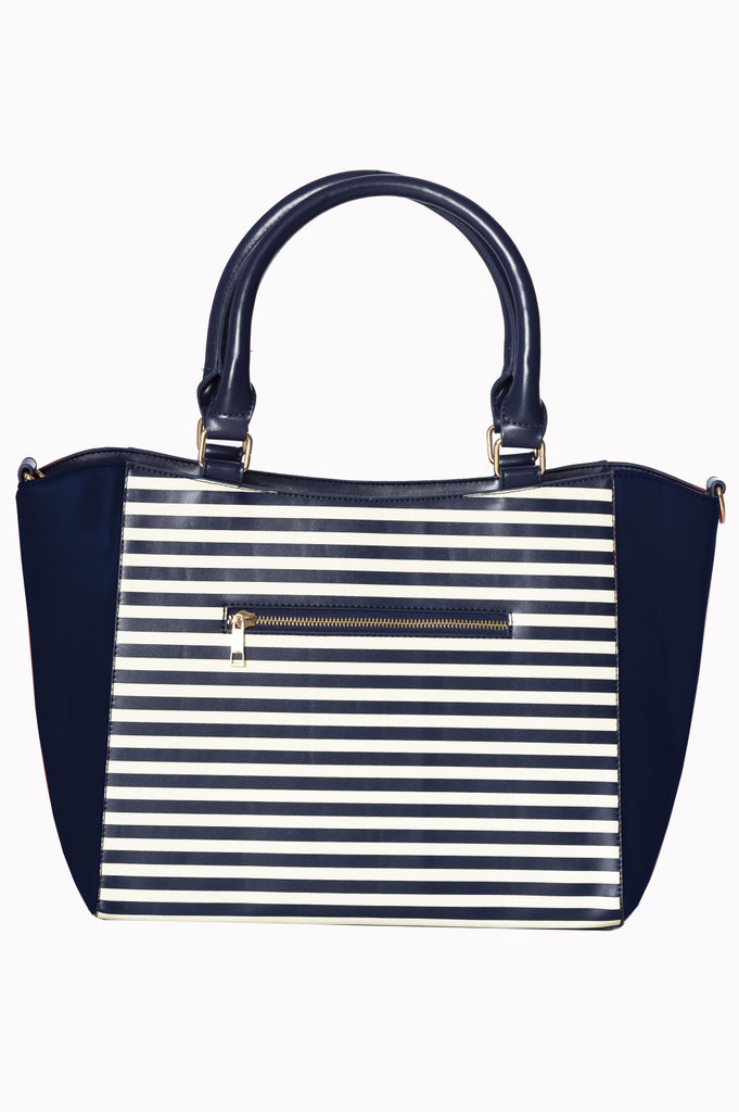 Banned Vintage Nautical Bag Navy Striped|Poisonkandyklothing