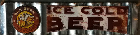 Bar Open - Corrugated Tin Sign