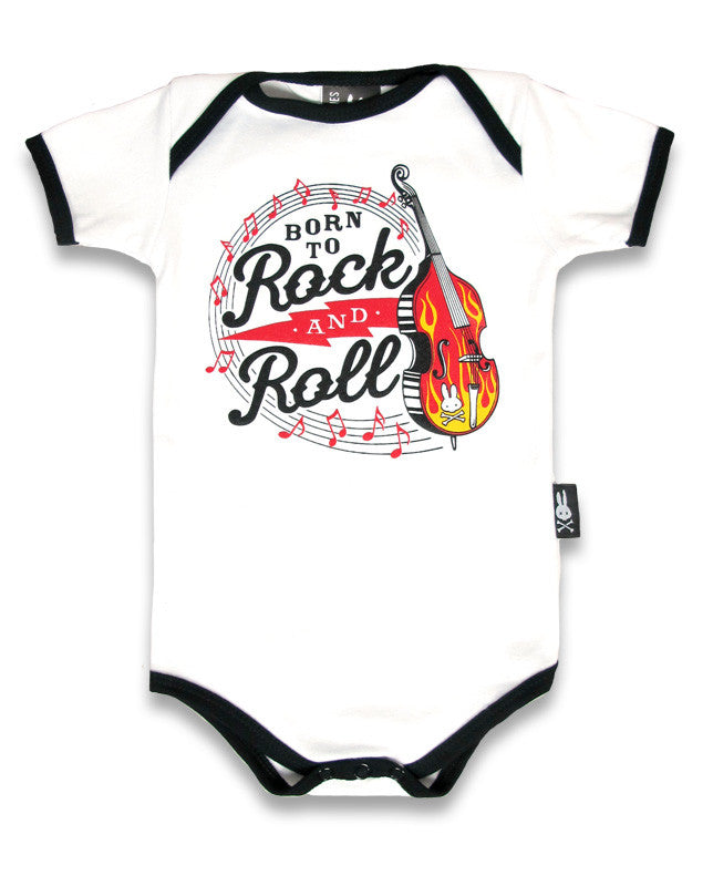 Six Bunnies Babies Romper - Born to Rock n Roll White