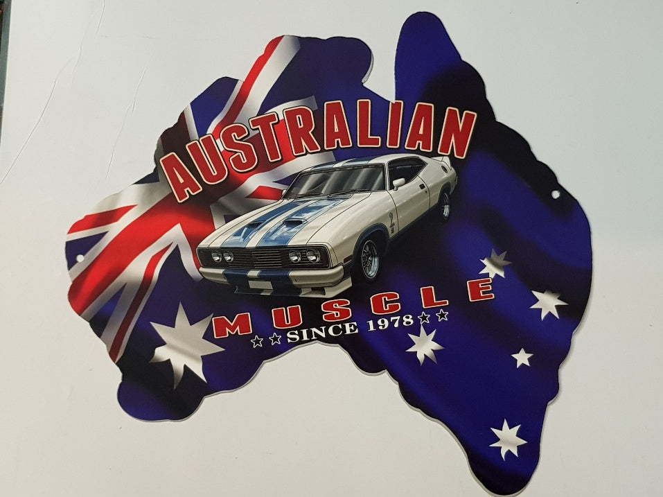 Tin Sign - Aussie Map Ford Cobra Hard Top