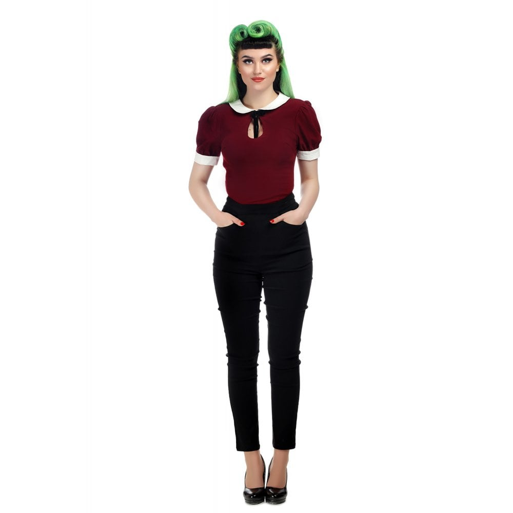 Ladies Pants -  Collectif Tali Plain Cigarette Pants Black