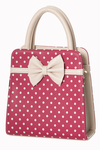 Banned Clothing Handbag Carla Pink & Cream