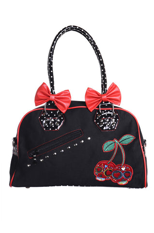 Banned Clothing - Cherry Skull bag with detachable bows|Poisonkandyklothing