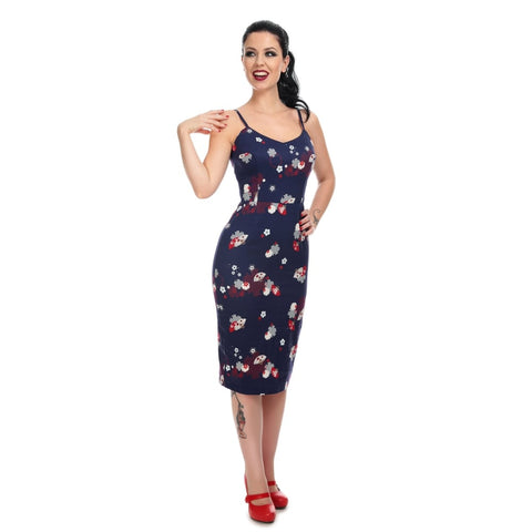 Collectif - Cinthia Floral Fan Pencil Dress Navy|Poisonkandyklothing