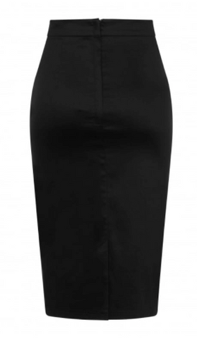 Collectif Mainline Bettina Pencil Skirt Black|Poisonkandyklothing