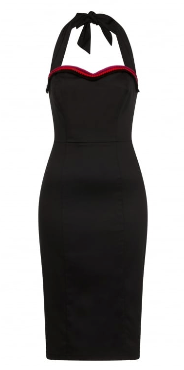 Collectif Mainline Sadie Pencil Dress Black|Poisonkandyklothing
