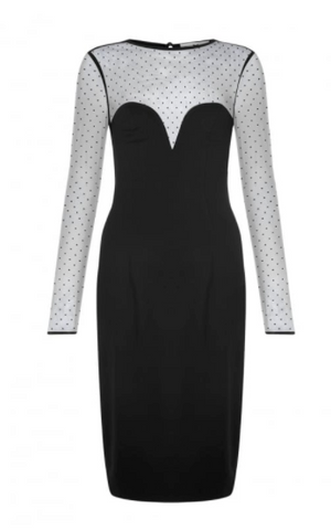 Collectif Vintage Morticia Polka Dot Mesh Pencil Dress|Poisonkandyklothing