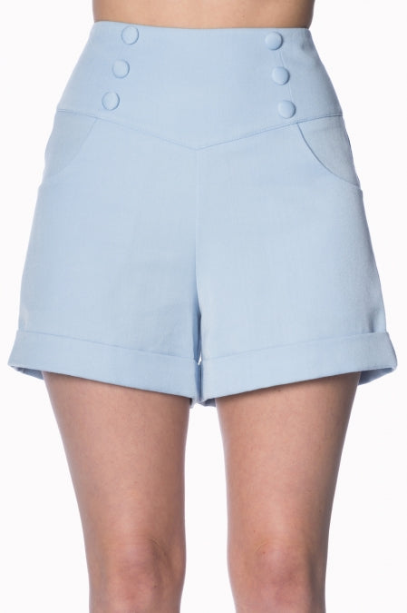Banned Clothing - Cute as a Button Short Baby Blue|Poisonkandyklothing
