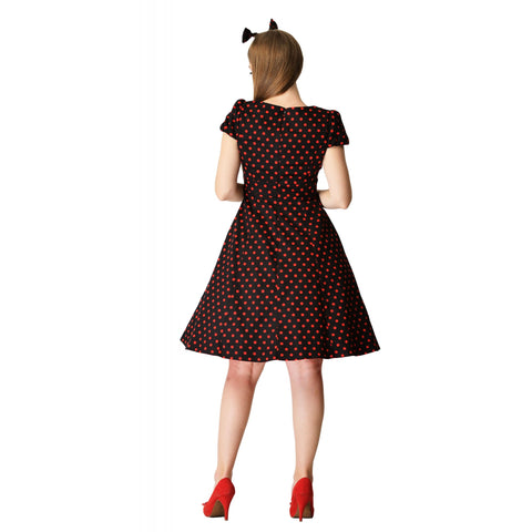 Claudia Flirty Fifties Dress Black Red Polka Dot|Poisonkandyklothing