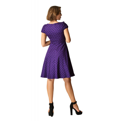 D&D Claudia Flirty Fifties Dress Purple Black Polka Dot