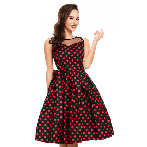 Dolly & Dotty Elizabeth Blk/Red Polka Dot Swing Dress|Poisonkandyklothing