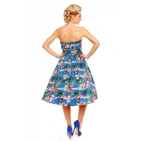 Dolly & Dotty Lana Flamingo Strapless Swing Dress|Poisonkandyklothing