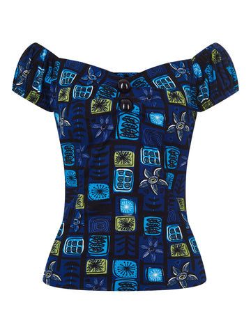 Collectif Dolores Top Abstract Floral Blue