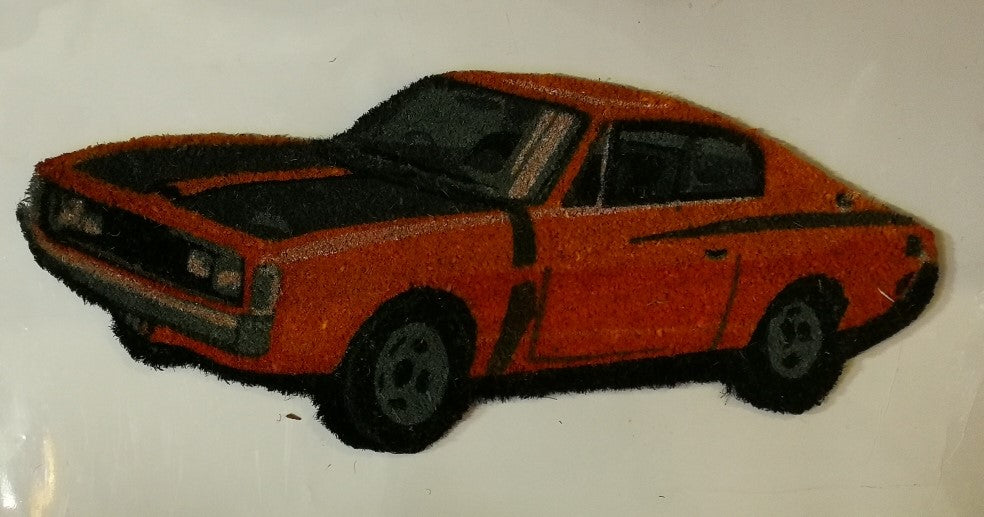 Car Themed Door Mat - Valiant Charger Orange Poison Kandy Klothing