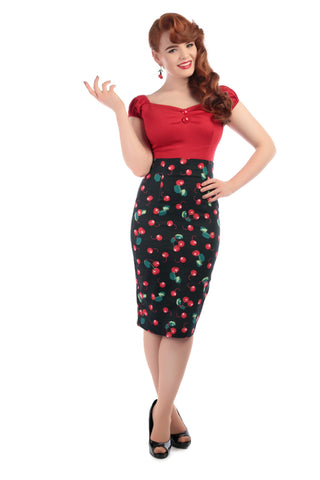 Collectif - Cherry Wiggle Skirt Fiona 50s Black/Red|Poisonkandyklothing