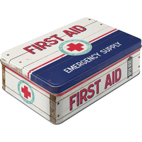 Flat Tins - First Aid with Hinged Lid