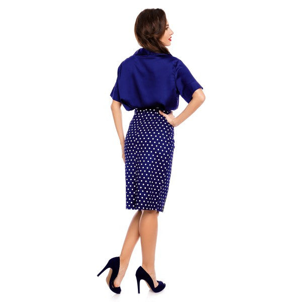Dolly & Dotty Falda Polka Dot Pencil Skirt Navy]Poisonkandyklothing