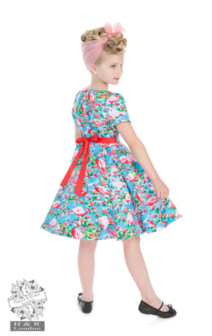 Hearts & Roses Flamingo Dress Kids|Poisonkandyklothing