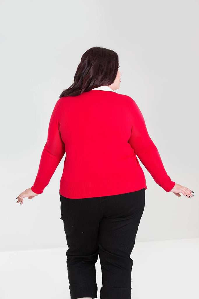 Hell Bunny Ladies Cardigan Debbie Red Plus Size|Poisonkandyklothing