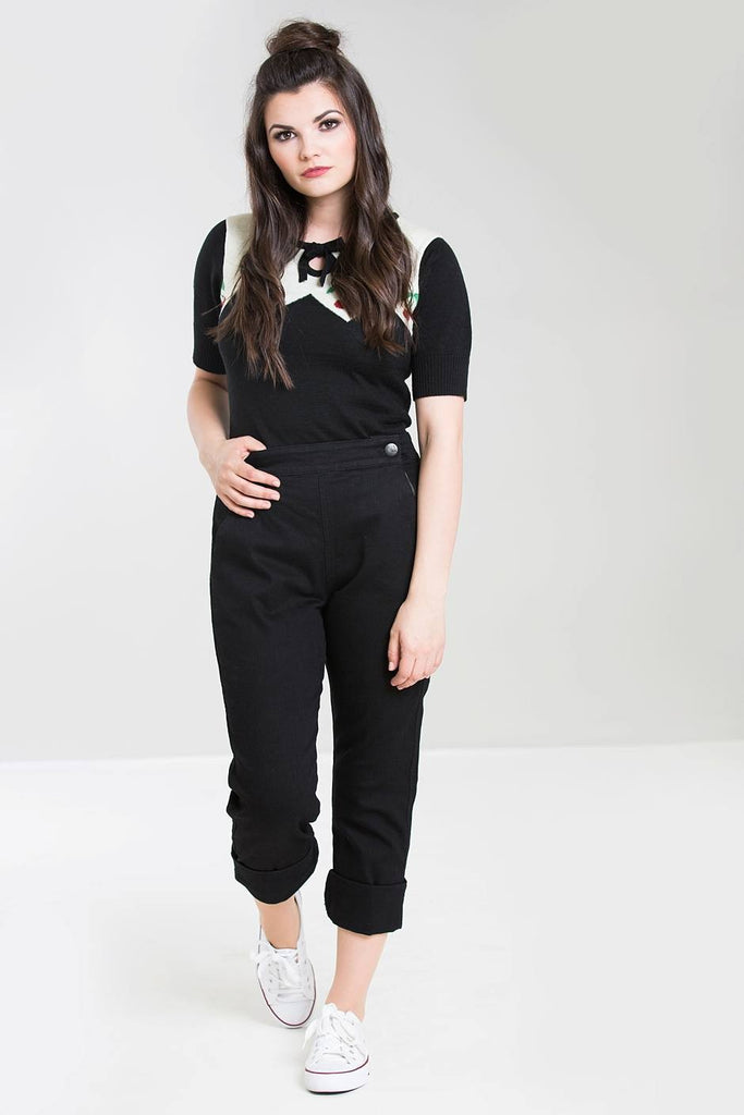 Hell Bunny Charlie Denim Capris Black|Poisonkandyklothing