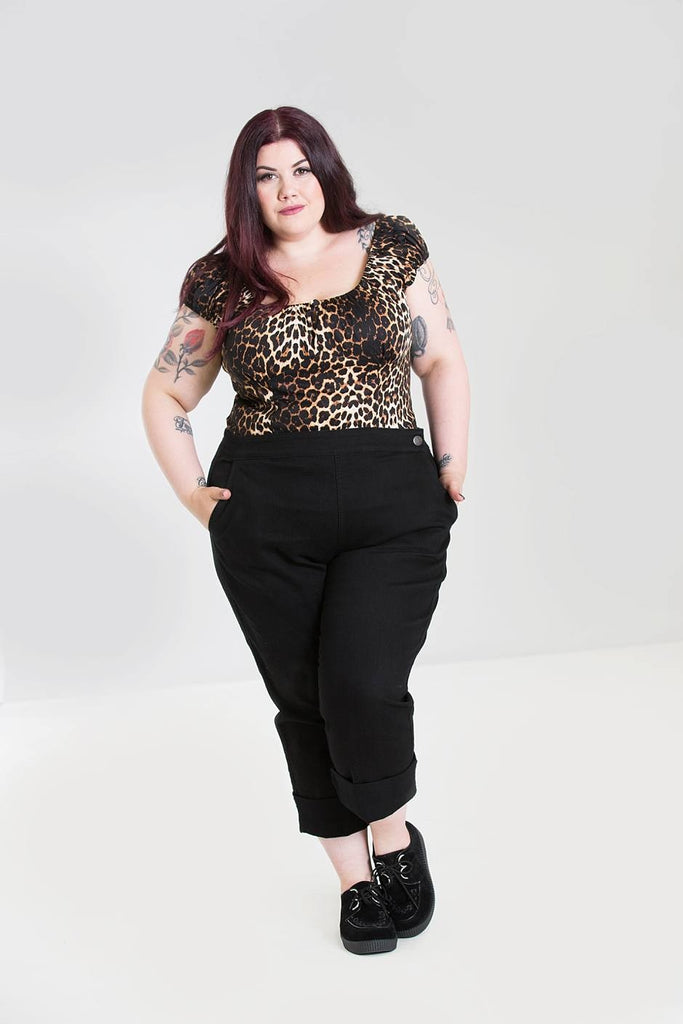 Hell Bunny Charlie Denim Capris Black Plus Size|Poisonkandyklothing