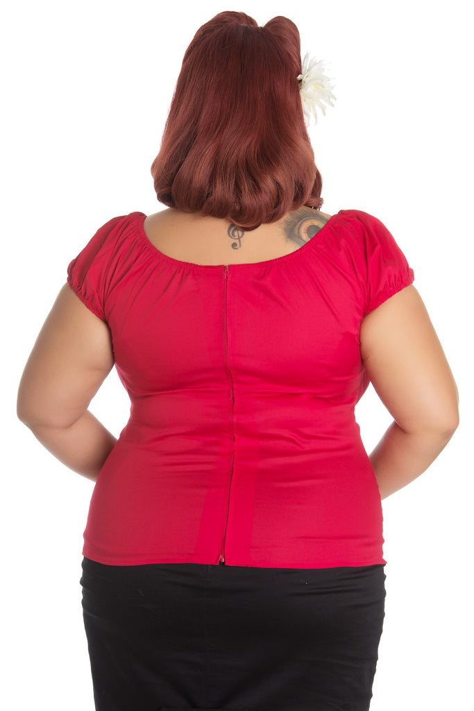 Hell Bunny Melissa Top Red Plus Size