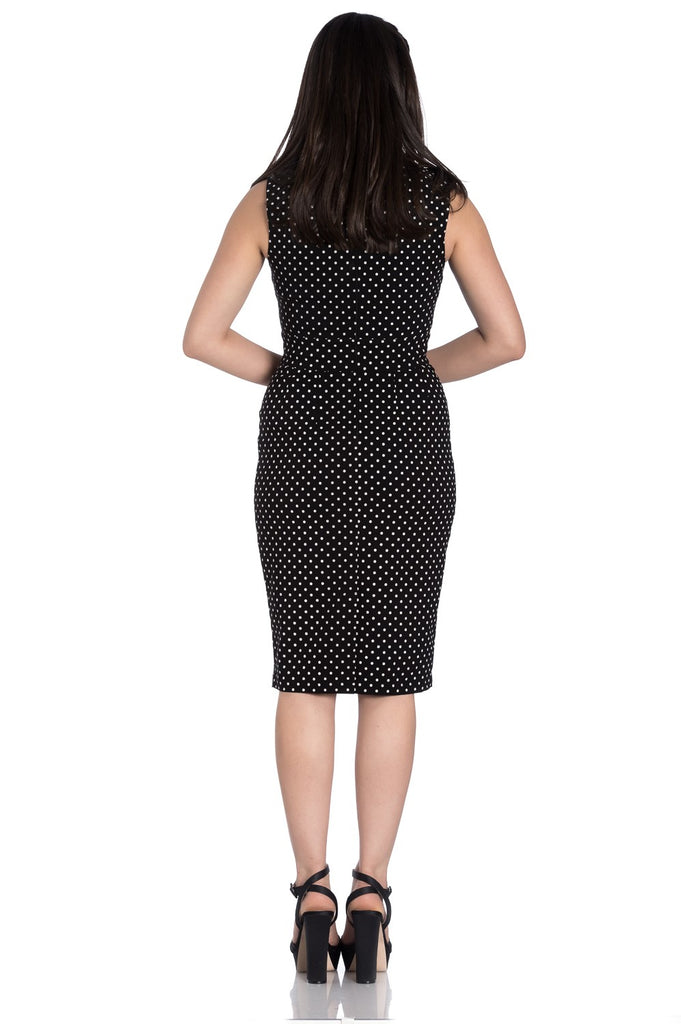 Hell Bunny Miley Pencil Dress Blk/White Dot|Poisonkandyklothing