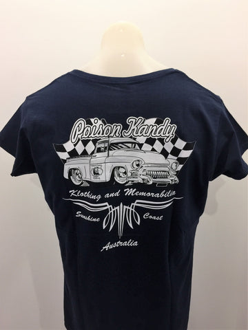 Ladies T-Shirt - Poison Kandy Klothing, Chevy pick up- Navy