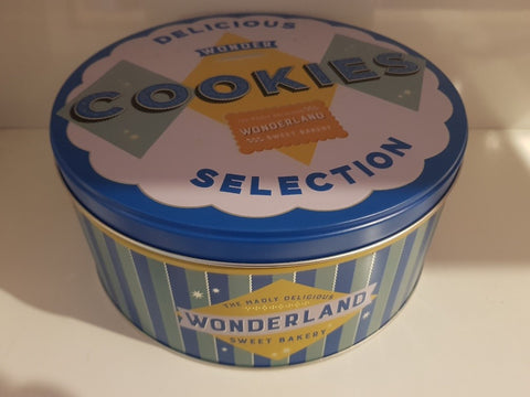Round Tin Container Large - Wonder Cookies Blue