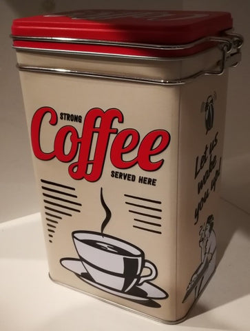 Tin Container Clip Top - Coffee Strong