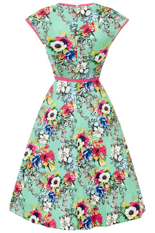 Lady Vintage - Isabella Dress Dusty Jade bouquet|Poisonkandyklothing