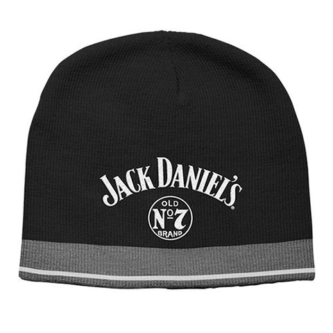 JACK DANIEL'S BLACK BEANIE WITH CHARCOAL/WHITE TRIM