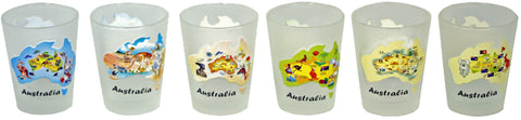 Australian Souvenirs - Shot Glass 6 Set Australian Maps