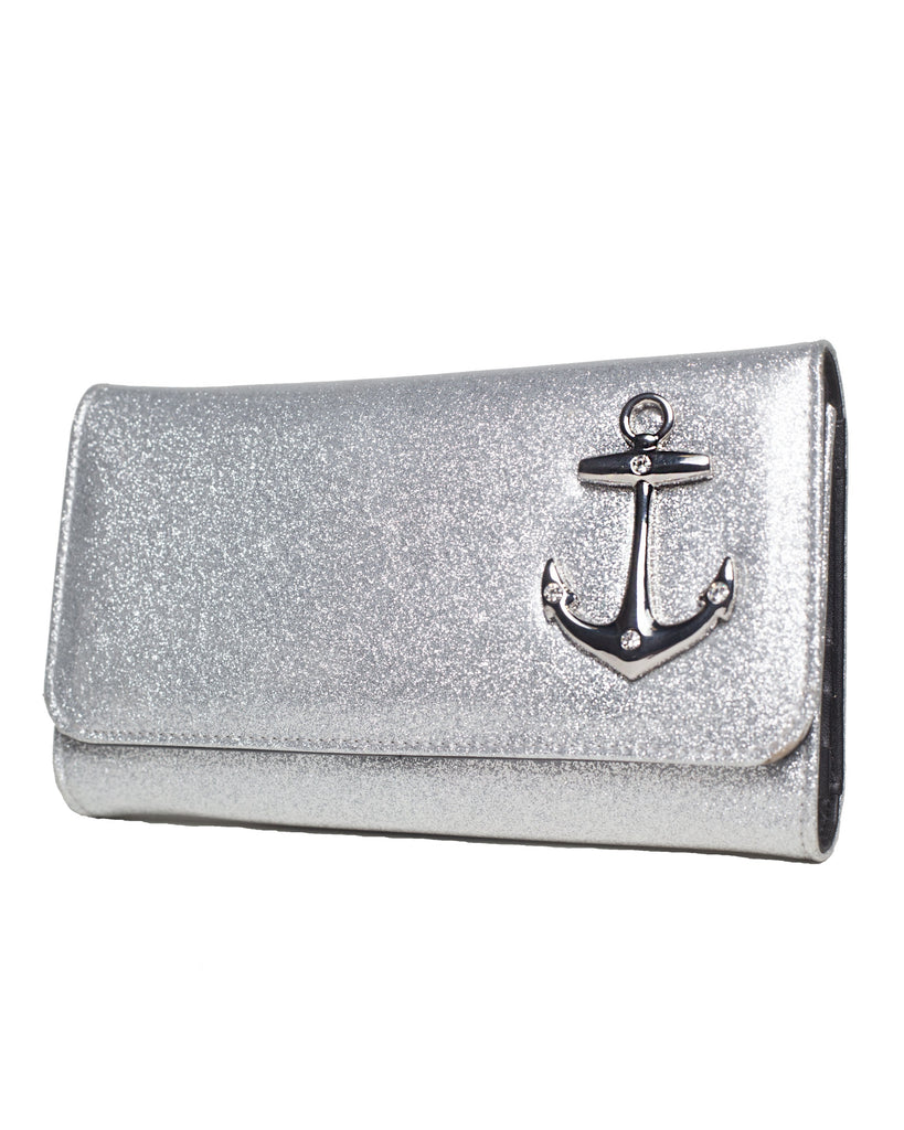 Lux De Ville Hold Fast Shiny Silver Wallet|Poisonkandyklothing